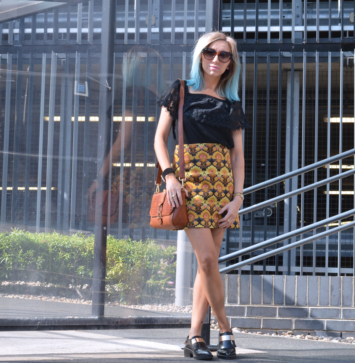 Boho top and Print A Line Skirt on Rock On Holly Blog