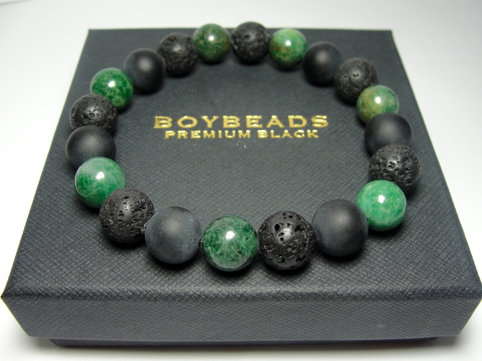 Edgar Ernest Boybeads Green African Jade Sterling Silver Crowned Lion Beaded Bracelet Gift Set For Men
