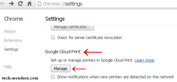 Google Cloud Print In Chrome Settings