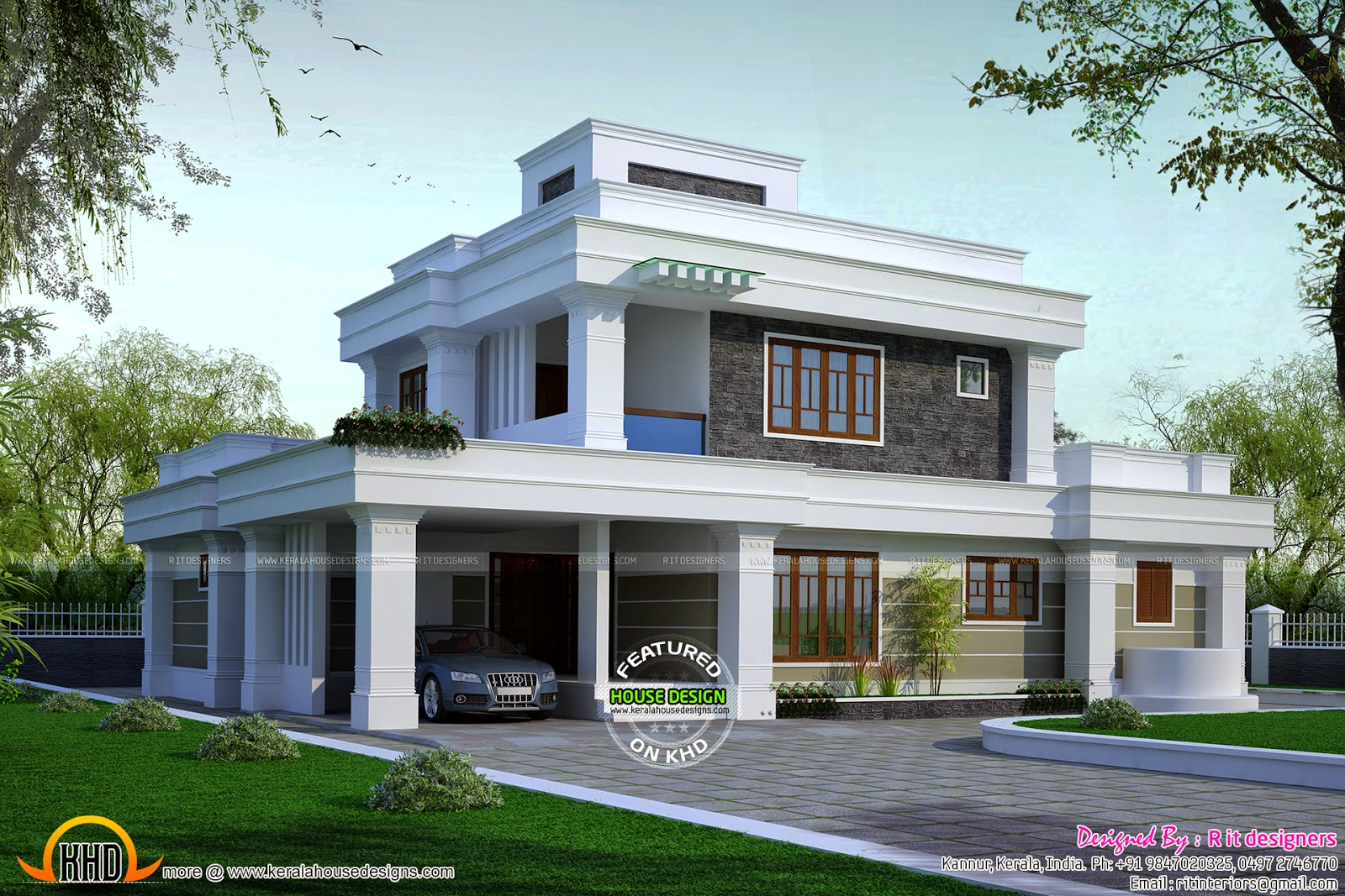 5 bhk flat roof house kerala home design and floor plans for Flat roof home plans