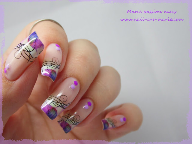 Nail Art Water décals french violette5