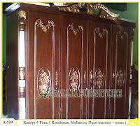 Lemari Pakaian Ukiran Kanopi 4 Pintu ( Kombinasi Melamine dan duco marmer + emas )