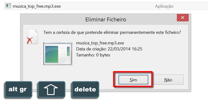 Atalho remover ficheiro de forma permanente