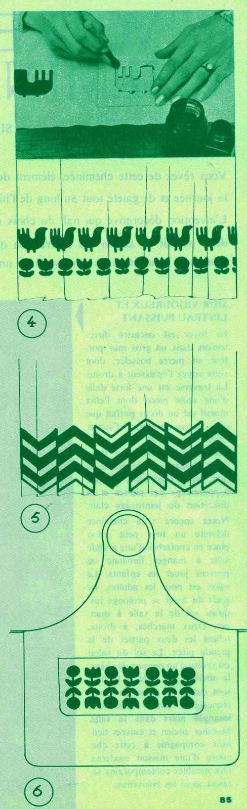 """vintage 1967 60s 1960 mod print stencil fabric impression pochoir sur tissu Ces différents ouvrages, vous les exécuterez vous-même - parce que vous avez le temps -  en imprimant sur tissu les motifs que nous vous proposons... et c'est déjà bien sympa de notre part .  Et alors là, quel plaisir d'offrir à vos proches un cadeau que vous aurez réalisé spécialement pour eux avec vos petits doigts  boudinés (ou pas) :  un magnifique étui """"Joe Strummer"""" pour y ranger le paquet de clopes  par exemple MATÉRIEL carton blanc petite brosse à pocher ou pinceau épais  encre indélébile pour tissu, que yous trouverez dans les magasins spécialisés en fournitures de dessin.  EXECUTION 1.  Décalquez le motif désiré et  reportez-le sur le carton en ménageant tout autour  un   bord  de  3   à 5 cm. 2.  Evidez le motif à l'aide d'une  plume  vaccinostyle que  vous trouverez dans les magasins spécialisés en fournitures   de  dessin   ou dans les pharmacies, à défaut, de fins ciseaux feront l'affaire. 3.  Posez la cache sur le tissu bien tendu.  Fixez-le aux quatre coins avec des punaises. Avec le pinceau ou la brosse à pocher, remplissez les parties ajourées, en ayant soin durant tout le travail, de maintenir, de la main gauche, la cache sur le tissu afin qu'aucun décalage ne se produise. Nous vous conseillons de faire un essai sur un morceau de tissu. Ainsi vous pourrez vous familiariser avec une technique qui vous permettra de réaliser des merveilles. 4.  Répétez    ou    alternez les motifs , suivant   votre goût   ou   votre   imagination. La premiere futée qui remarquera que je n'ai pas les instructions  5. et 6. , je lui paye une bière à Slapshot !"""