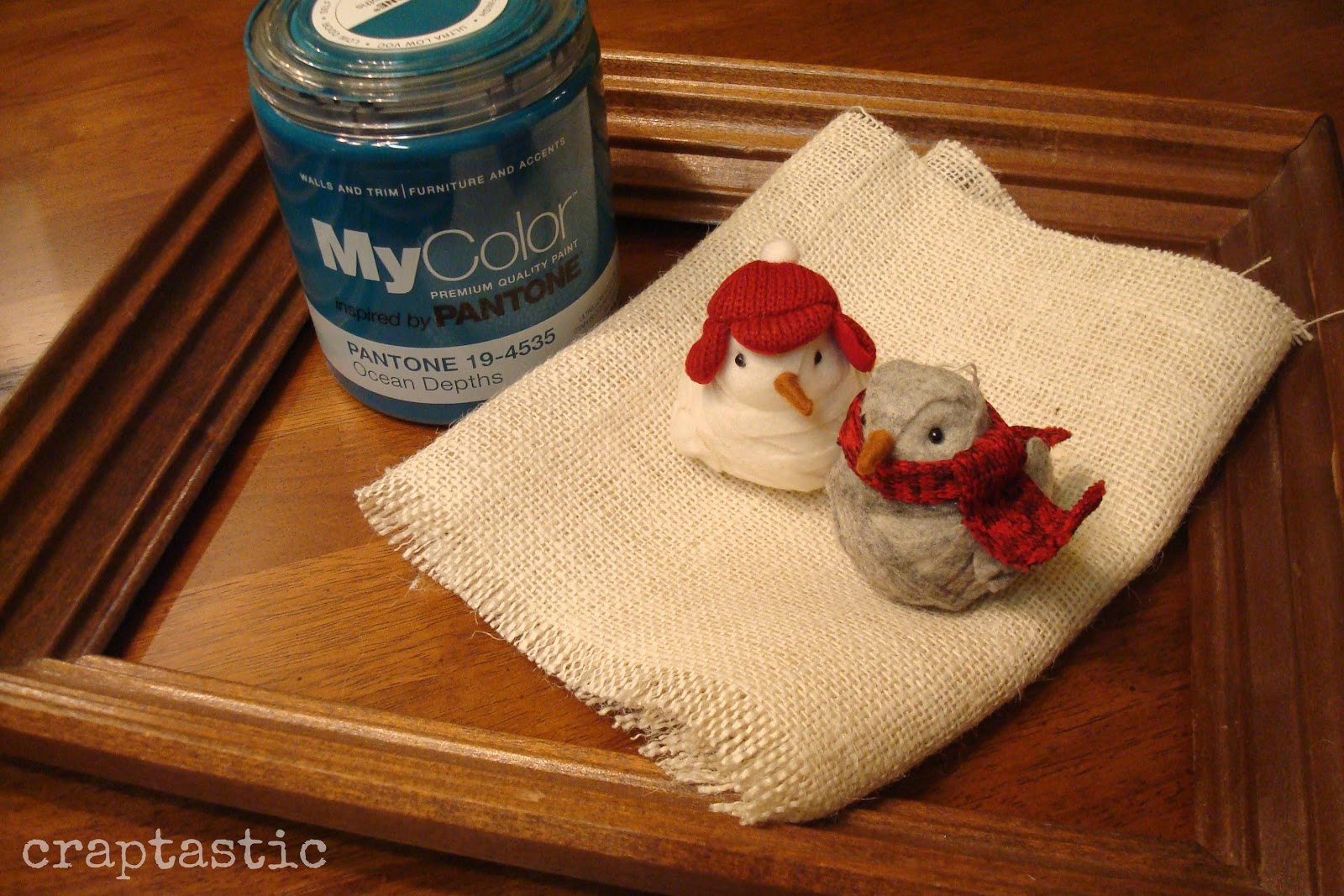 Burlap bird ornaments - I Grabbed Mycolor Inspired By Pantone Paint In Ocean Depths The Same Color I Used On My Accessory Station Some Leftover Burlap And A Frame I Had In The