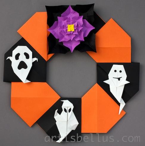 halloween decorations origami wreath
