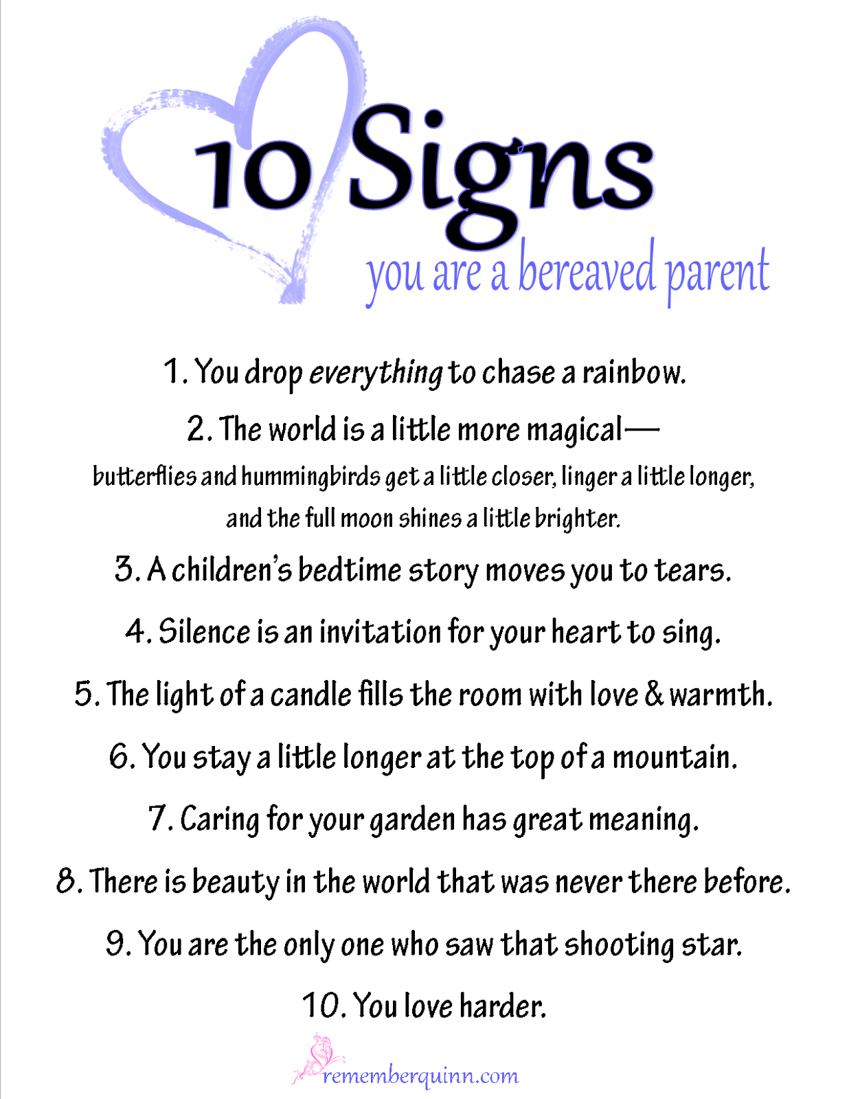 10 signs you are a bereaved parent