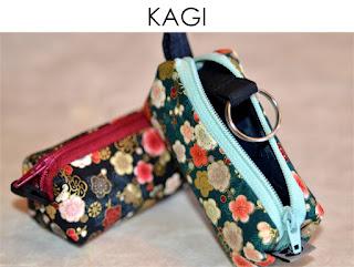 Schlüsseletui Kagi aus japanischen Stoffen von Noriko handmade, handgemacht, Einzelstück, Unikat, Design, Etui, Mäppchen
