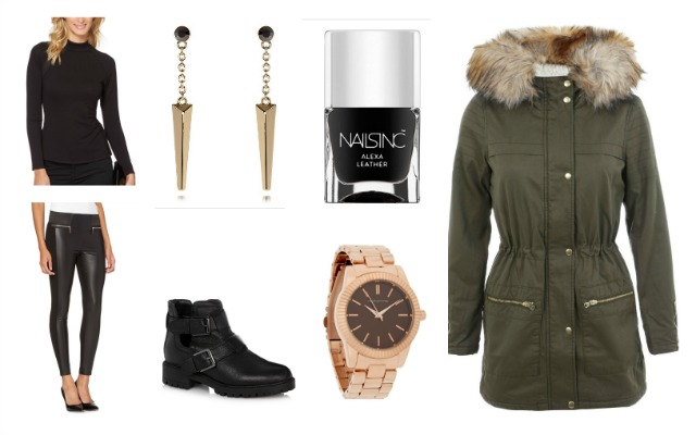 debenhams, modern military, julien macdonald, star, leather look trousers, roll  neck, faith cutout boots, rose gold red herring watch, miss selfridge parka, nails in alexa leather,