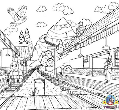 Steam engine railway station printable picture of Thomas train coloring book pages for boys to draw