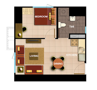 Avida Towers Intima One Bedroom Unit Plan