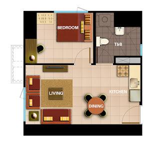 Avida Towers Intima One Bedroom Unit Plan