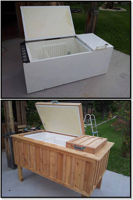 Amazing creativity old fridge into patio cooler for 0 1 couch to fridge