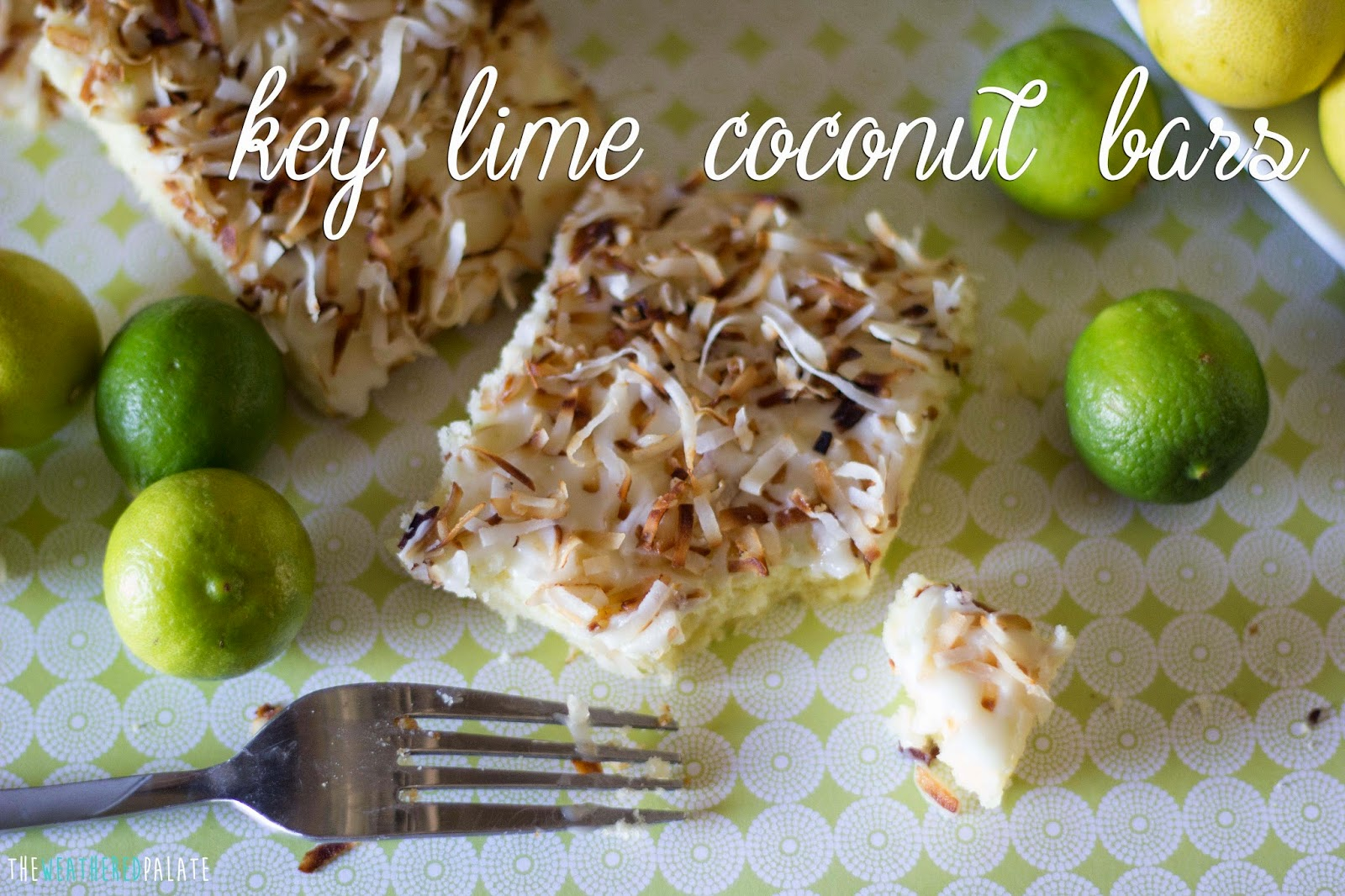 http://www.theweatheredpalate.com/2014/09/key-lime-coconut-bars.html