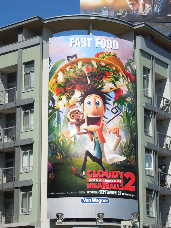 Cloudy with a Chance of Meatballs 2 film billboard