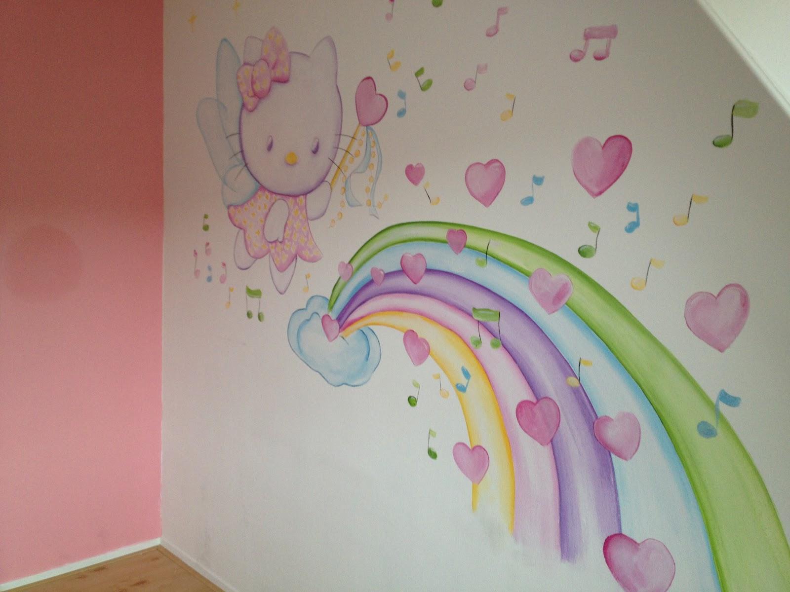 Kinderkamer Hello Kitty : Op de muur van deze babykamer heb ik een ...