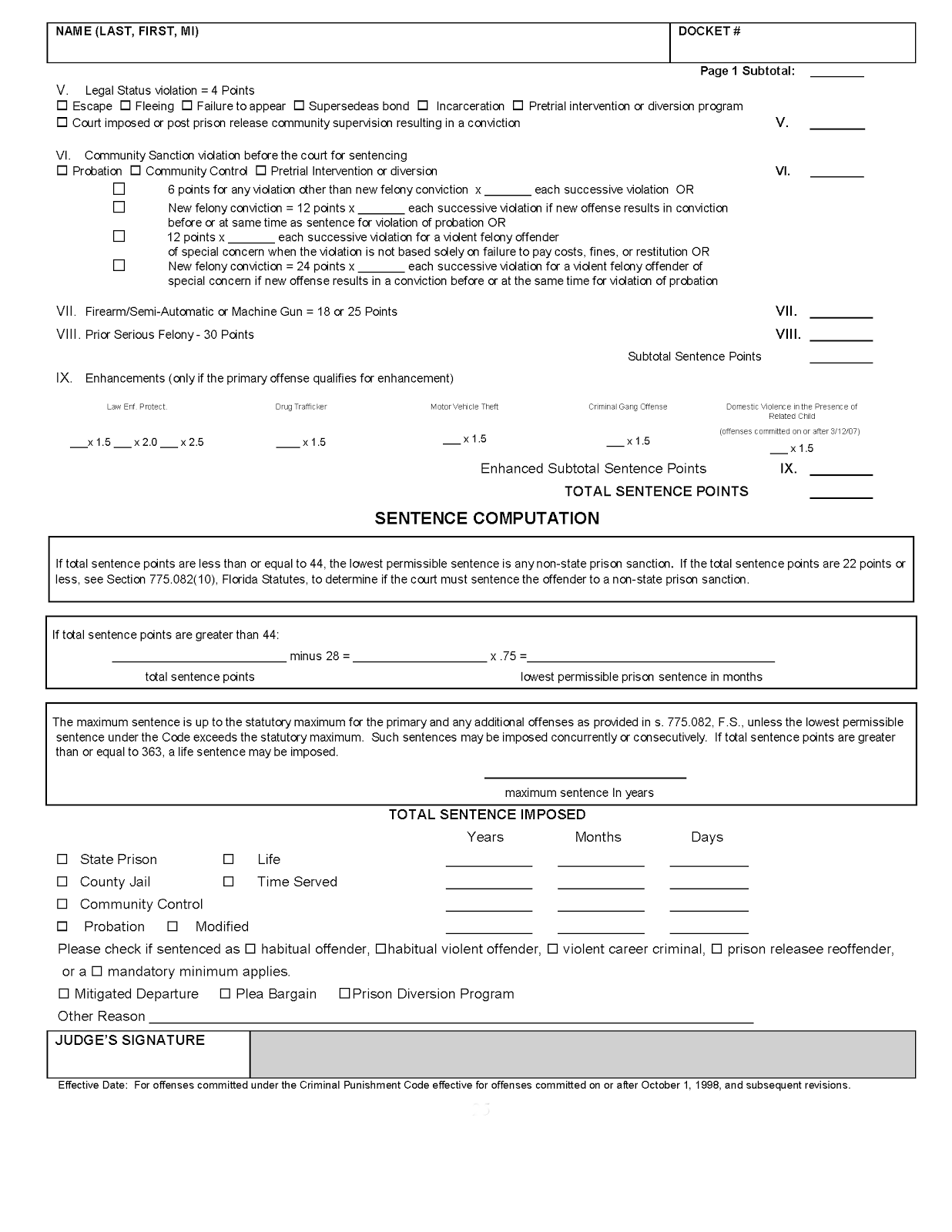 Free Worksheet Federal Sentencing Guidelines Worksheet florida sentencing the criminal punishment code scoresheet explained figure 1b rule 3 992a second page