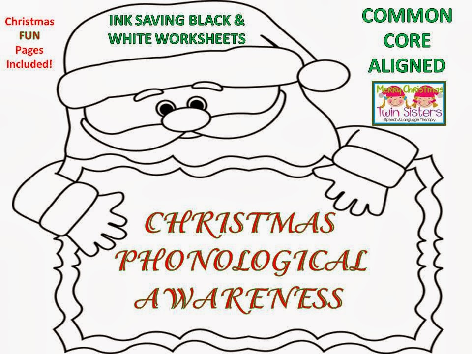 Worksheets Free Phonemic Awareness Worksheets twin speech language literacy llc christmas phonological awareness bw worksheets free fun sheets