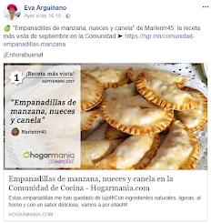 Mis Empanadillas las mas  vista en el mes de Septiembre, en la comunidad de cocina de Eva Arguiñano