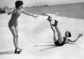 Two Women Roller-Skating