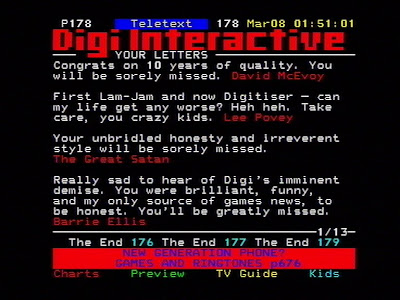 Digitiser letters at the end in 2003.
