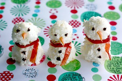 Coconut Snowmen Macaroons, from Diamonds for Dessert