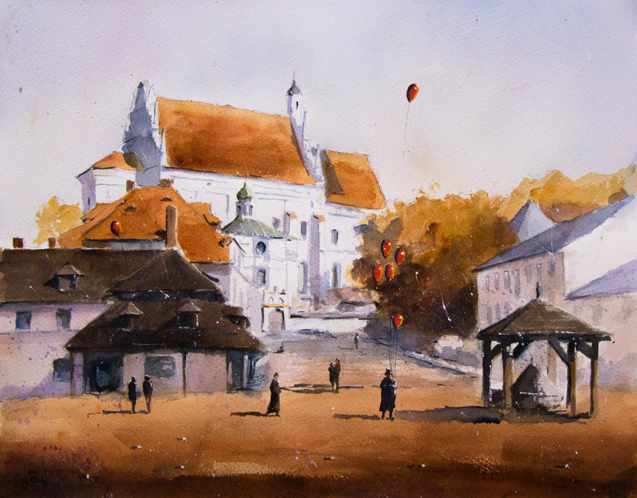 06-An-autumn-in-Kazimierz-Grzegorz-Chudy-sanderus-Dreams-Started-with-Watercolor-Paintings-www-designstack-co