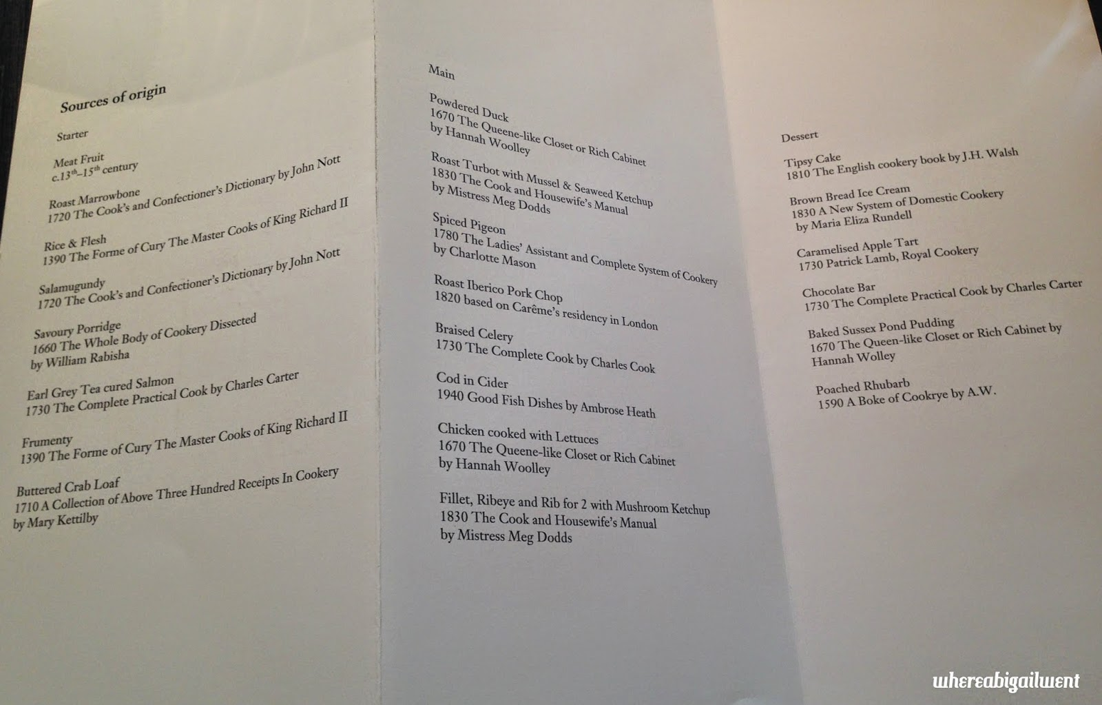A La Carte Menu Dinner By Heston Blumenthal