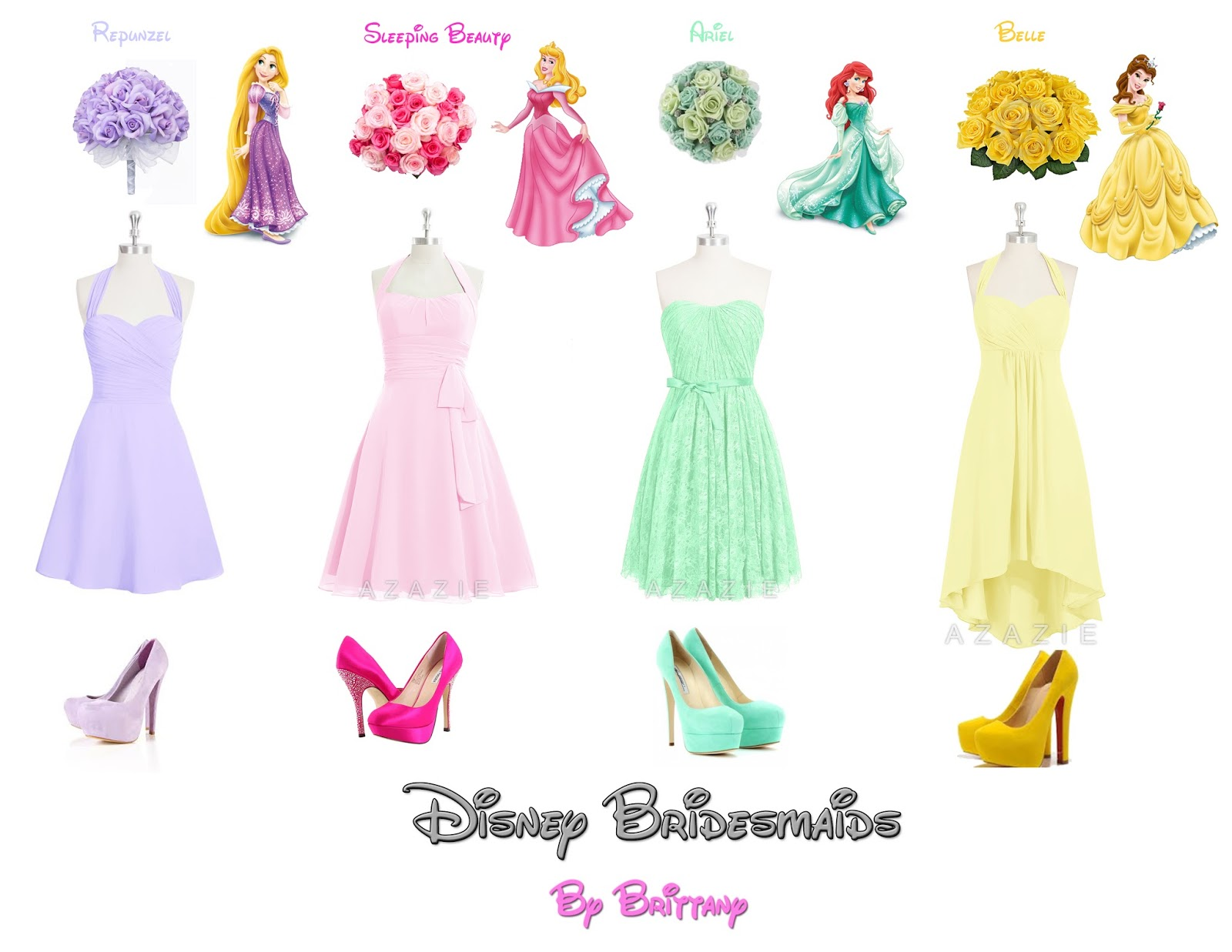 Brittany 39 s disney wedding disney princess bridesmaid dresses for Designer disney wedding dresses