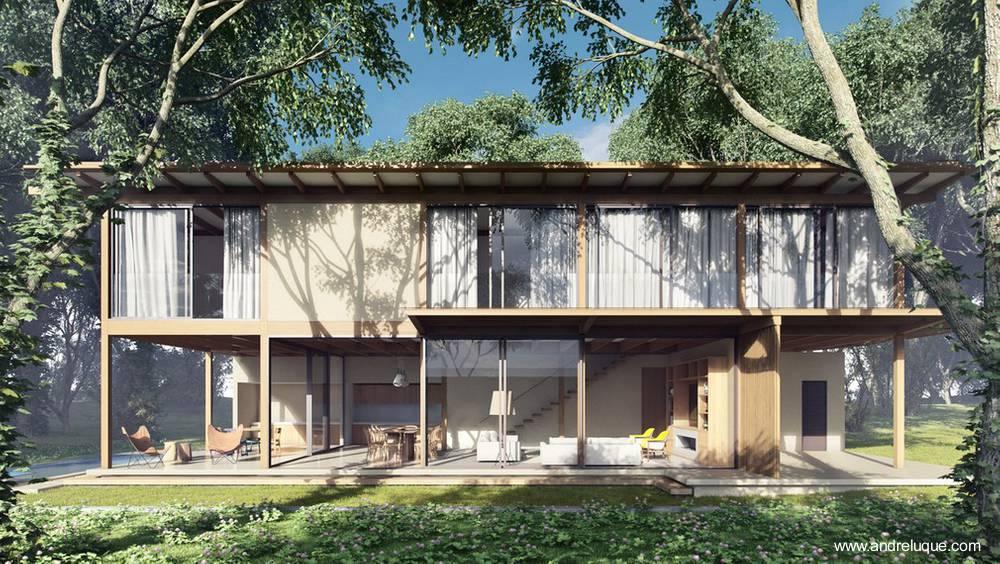 Arquitectura de Casas: Casa de campo de dos pisos de madera tropical ...