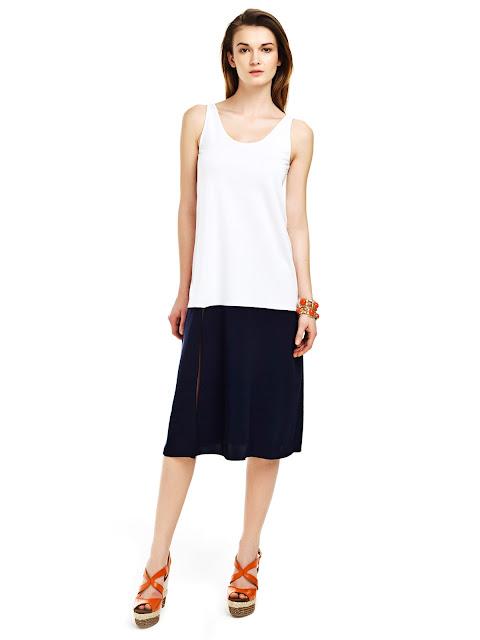 çift renk elbise, derin yırtmaçlı elbise, kısa elbise, kolsuz elbise,