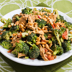 chicken broccoli and red bell pepper salad with peanut butter dressing
