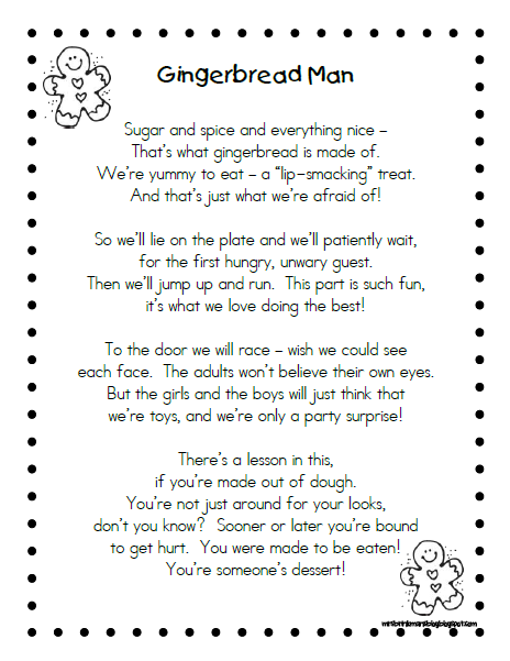 Gutsy image inside gingerbread man story printable