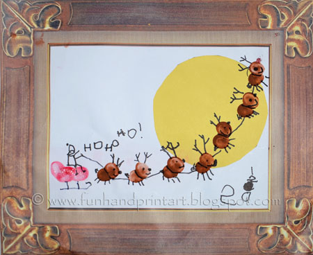 Kids Christmas Craft: Thumbprint Sleigh, Thumbprint Reindeer