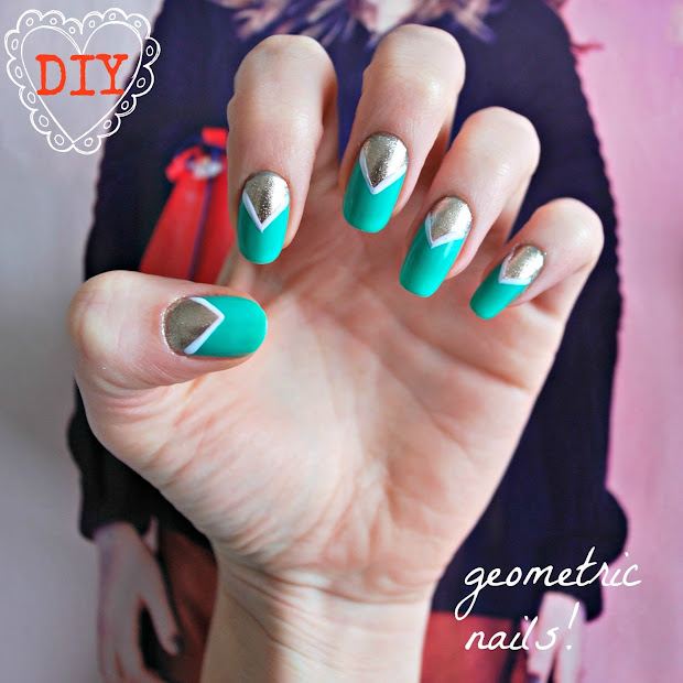 diy easy geometric nail art