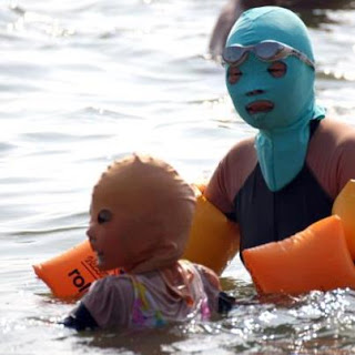 Woman and Baby in Facekini