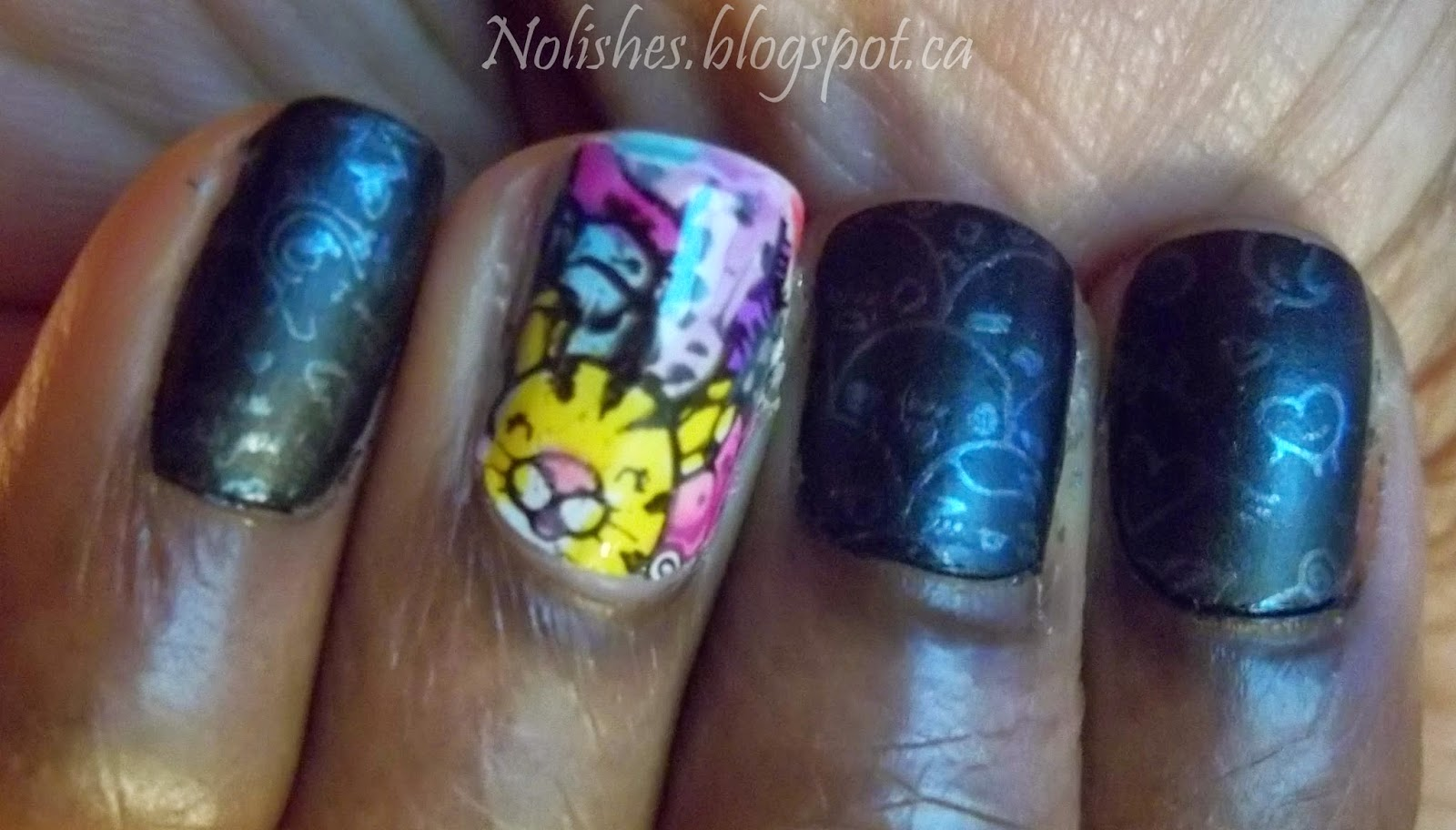 Colourful Cartoon Nail Stamping Manicure using Lead Light Technique, and Moyou London Princess Collection Plate 11. Polishes used include: Misa 'Bed of Roses'; Nfu OH Jelly Syrup Series Polishes NFU JS20, NFU JS18, NFU JS17, NFU JS12; China Glaze 'Creative Fantasy'; OPI '4 in the Morning'; NYC 'French White Tip', and Rimmel 'Black Satin'