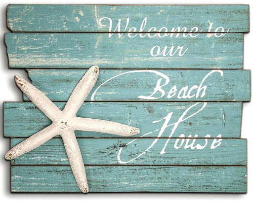 Welcome Beach House Wood Sign : The Beach Quotes Shop