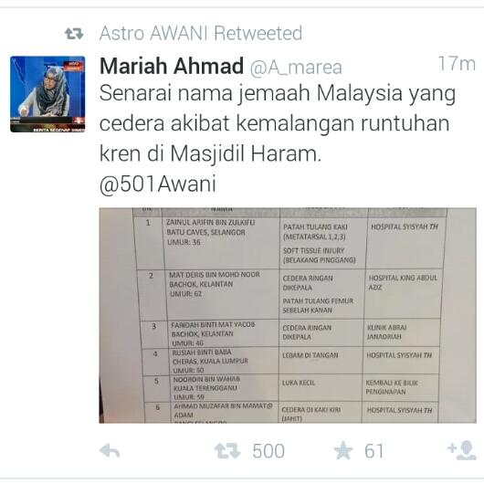 senarai jemaah haji malaysia cedera kren runtuh, kren runtuh, masjidilharam