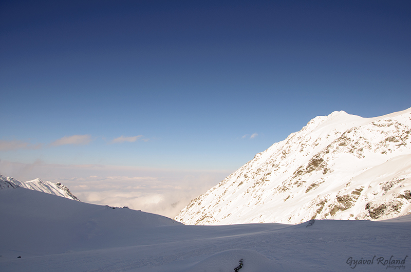 Balea lake and Fagaras mountains in winter