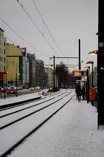Tram berlinois sous la neige