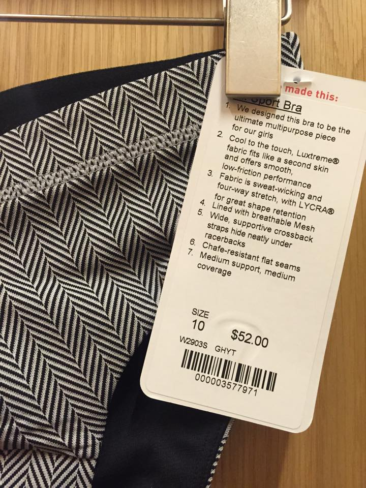 lululemon herrinbone all sport bra tag