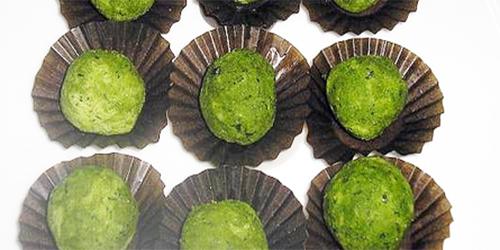 receta: bombones blancos y verdes