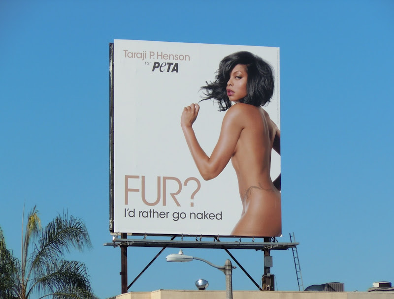 Taraji P Henson PETA anti-fur billboard