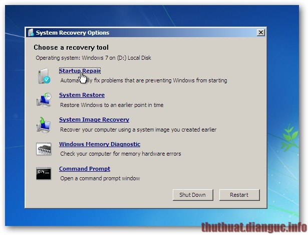 Khắc phục lỗi khởi động windows bằng Startup Repair
