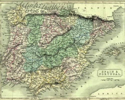 Mapa de España Edward Weller 1861