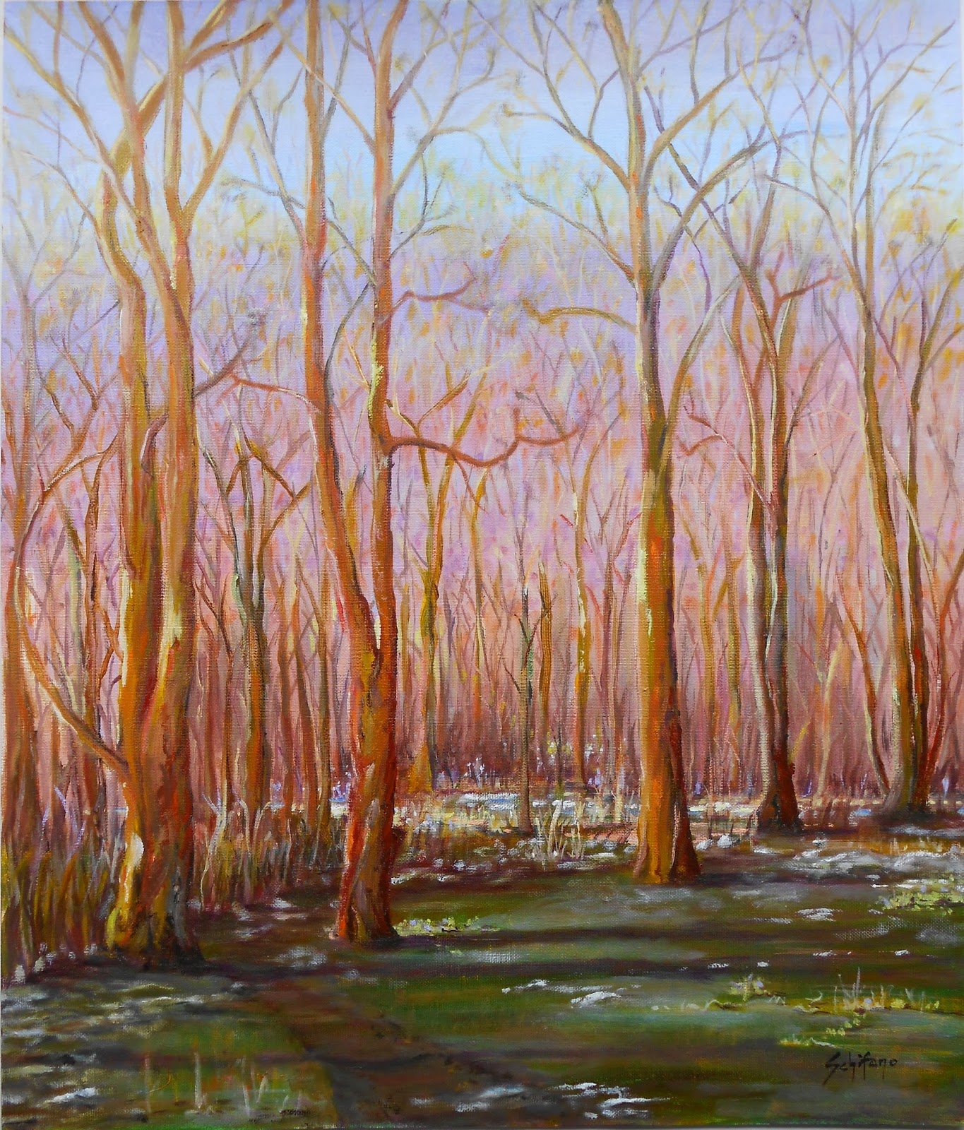 Spring trees, Kath Schifano, oil paint trees