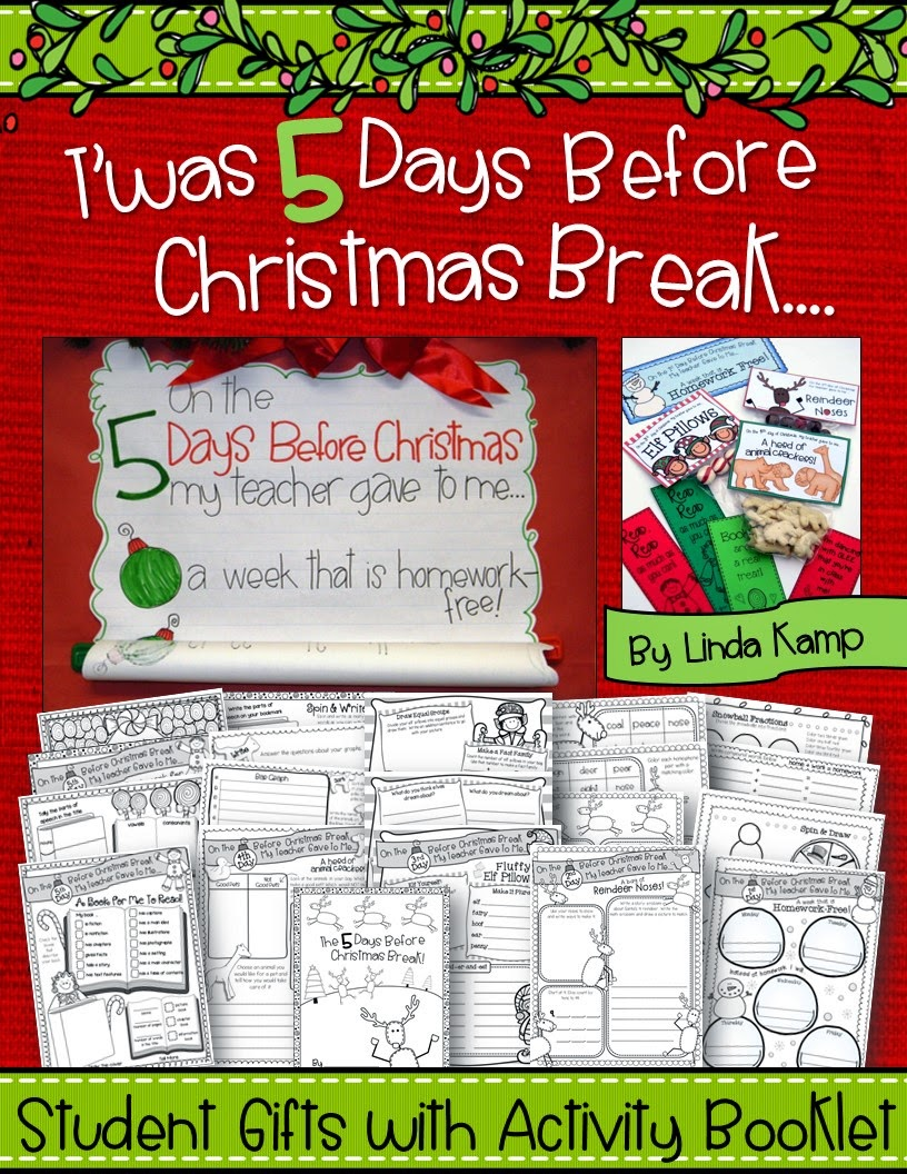 Christmas math, language, and writing activity booklet where students use daily gifts to complete each page!