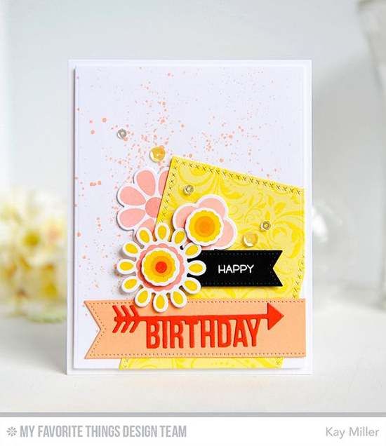 Cheery Birthday Card by Kay Miller featuring the Miss Tiina Build-able Blooms and Things With Wings stamp sets, Garden Flourish Background stamp, Arrow Greetings, Cross-Stitch Rectangle STAX, Pierced Fishtail Flags STAX, and Miss Tiina Build-able Blooms Die-namics #mftstamps