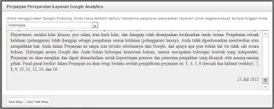 Perjanjian Persyaratan Google Analytics